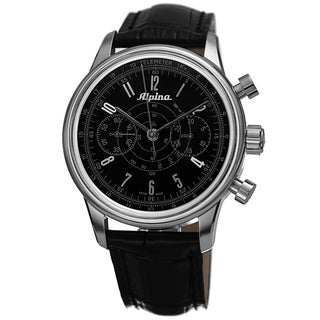 Alpina Men's '130 Heritage' Black Dial Black Leather Strap Chronograph Watch