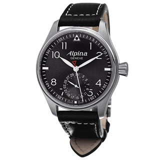 Alpina Men's 'Smartime Pilot' Antracite Dial Black Leather Strap Automatic Watch
