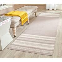 Safavieh Hand-woven Dhurries Light Brown Wool Rug - 2'6 x 8'