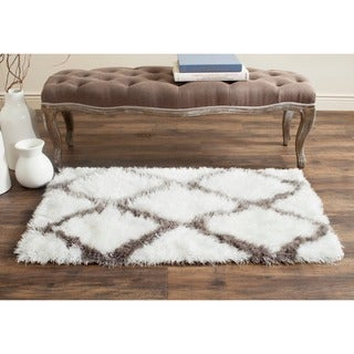 Safavieh Handmade Barcelona Shag White/ Silver Trellis Polyester Rug (2'3 x 4')
