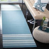 Safavieh Hand-woven Dhurries Turquoise Wool Rug - 2'6 x 8'