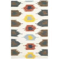 Safavieh Hand-woven Dhurries Ivory/ Multi Wool Rug - 3' x 5'