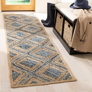Safavieh Cape Cod Handmade Natural / Blue Jute Natural Fiber Rug (2'3 x 8')