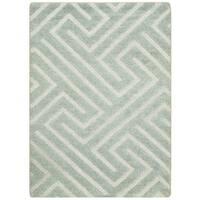 Safavieh Hand-knotted Santa Fe Geometric Light Grey/ Silver Wool Rug - 2' x 3'