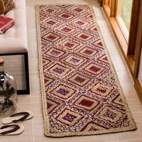 Safavieh Cape Cod Handmade Natural / Red Jute Natural Fiber Rug - 2'3 x 8'