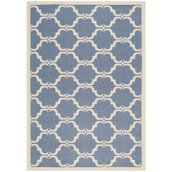 Safavieh Courtyard Moroccan Blue/ Beige Indoor/ Outdoor Rug - 9' x 12'