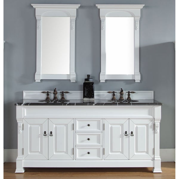 James Martin Furniture Brookfield 72 Inch Cottage White Double Vanity Cabinet