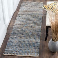 Safavieh Hand-Woven Cape Cod Stripe Natural/ Blue Jute Rug - 2'3 x 8'