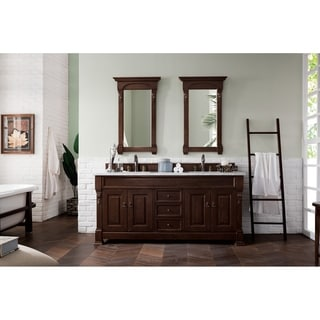James Martin Furniture 72-inch Brookfield Burnished Mahogany Double Vanity with Marble Top