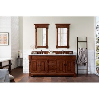 James MArtin Furniture 72-inch Brookfield Warm Cherry Double Vanity with Marble Top