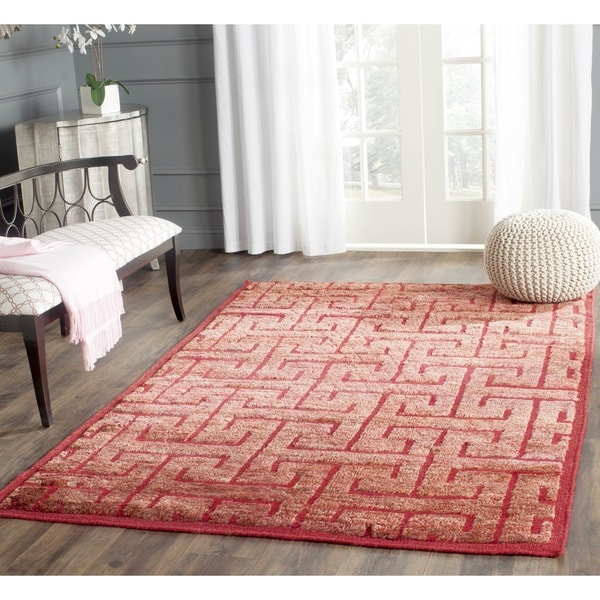 Safavieh Hand-knotted Tangier Red/ Rust Wool/ Jute Rug - 8' x 10'