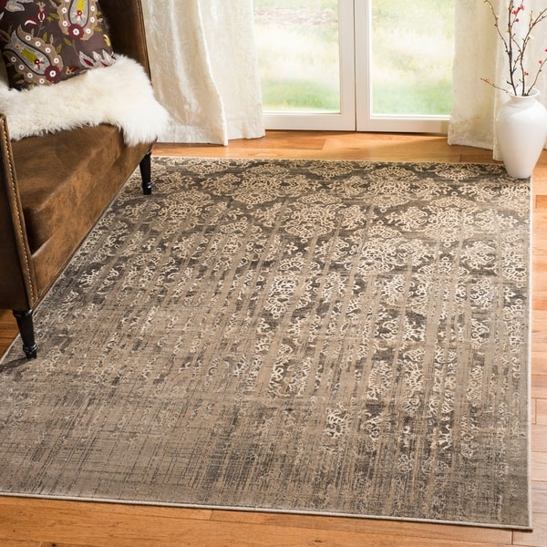 Safavieh Vintage Mouse Brown Damask Distressed Silky Viscose Rug - 8' x 11'2