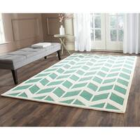 Safavieh Handmade Moroccan Cambridge Teal/ Ivory Wool Rug - 6' Square