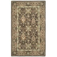Safavieh Handmade Anatolia Oriental Brown/ Beige Hand-spun Wool Rug - 4' x 6'