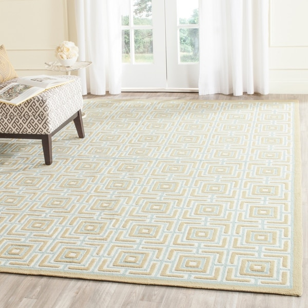 Safavieh Hand-hooked Newport Olive/ Light Blue Cotton Rug - 7'9 x 9'9