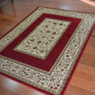 Traditional Floral Red Area Rug (5'3 x 7'3)