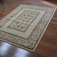Traditional Floral Beige Area Rug - 6'7 x 9'6