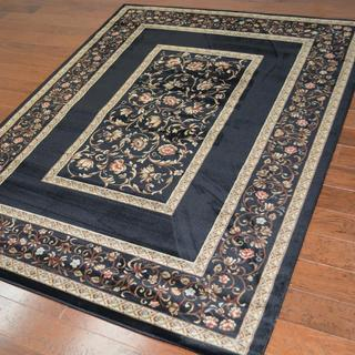 Traditional Floral Black Area Rug (6'7 x 9'6)
