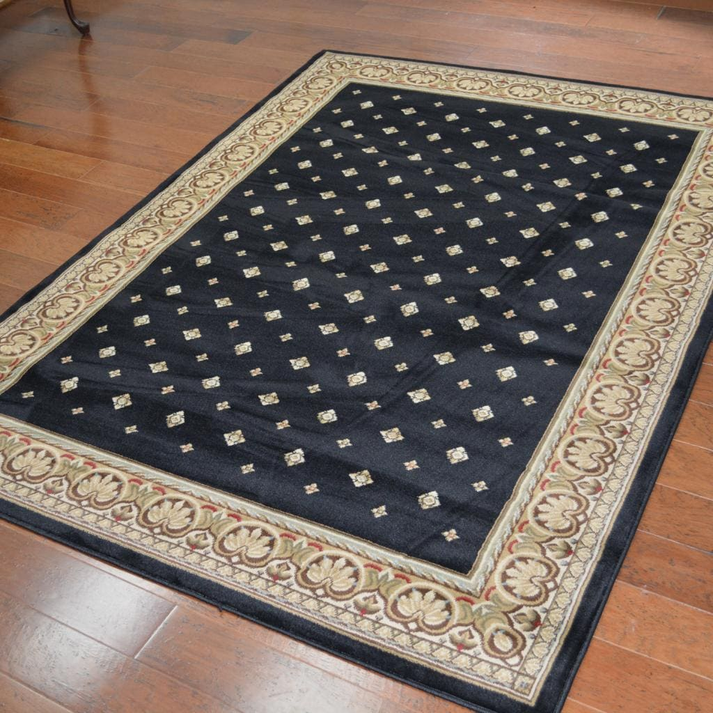 Traditional Oriental Black Area Rug (7'10 x 10'10), Multi...