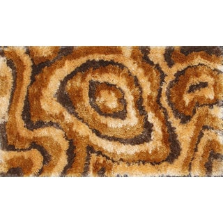 Flamboyant Brown and Beige Geometic Shag Rug (5' x 8')