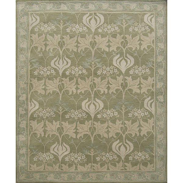 Decorative Beige and Green Wool Nature Area Rug (8' x 10')