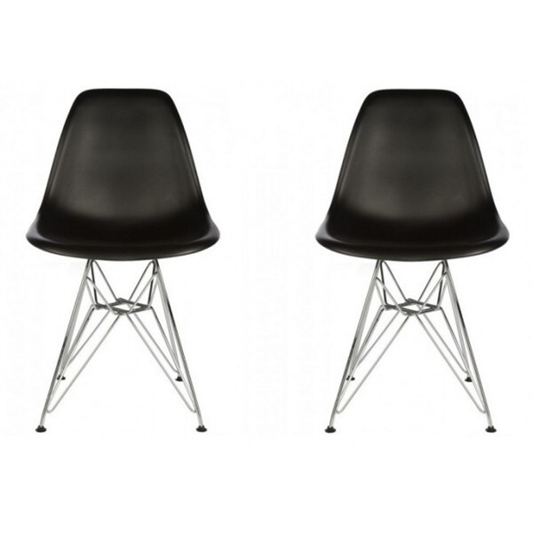 Contemporary Retro Molded Style Black Accent Plastic Dining Shell Chair with Steel Eiffel Legs (Set of 2). Opens flyout.