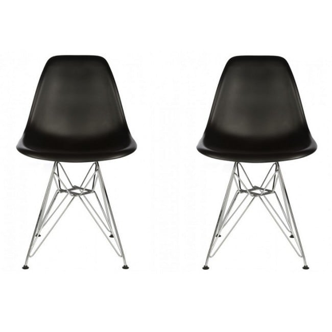 Eames Contemporary Retro Molded Style Black Accent Plasti...