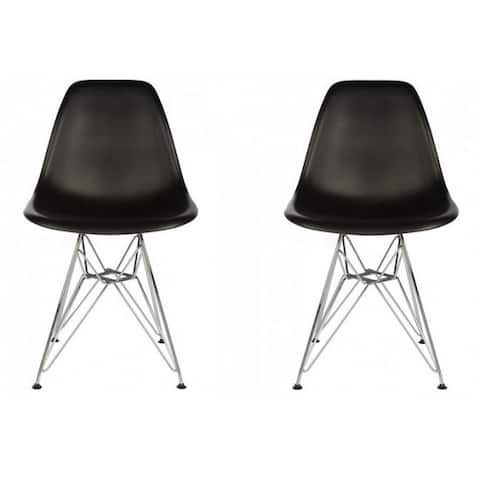 Contemporary Retro Molded Style Black Accent Plastic Dining Shell Chair with Steel Eiffel Legs (Set of 2)