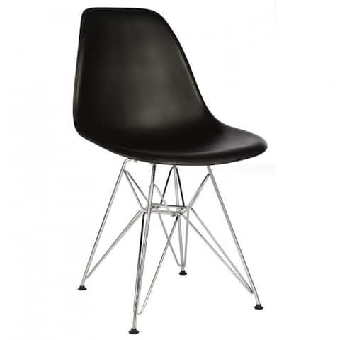 Contemporary Retro Molded Style Black Accent Plastic Dining Shell Chair with Steel Eiffel Legs