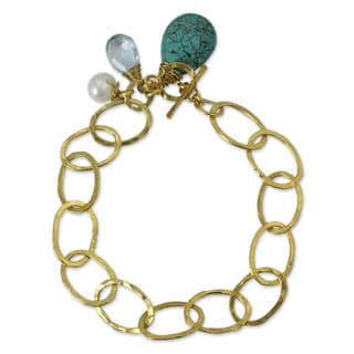 Gold Plated Multi-gem Brass 'Modern Marvel' Link Bracelet (Thailand)