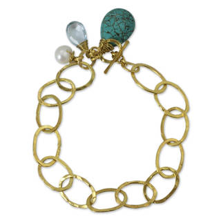 Handmade Gold Plated Multi-Gem Brass 'Modern Marvel' Link Bracelet (Thailand)