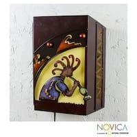 Handmade Iron 'Song of Kokopelli' Wall Lamp (Mexico)