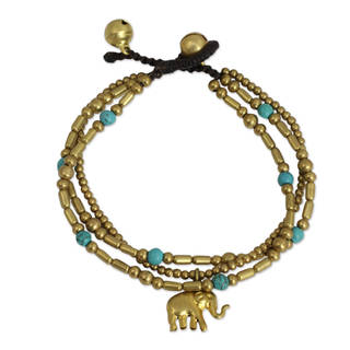 Brass Calcite 'Thai Elephant Charm' Beaded Bracelet (Thailand)
