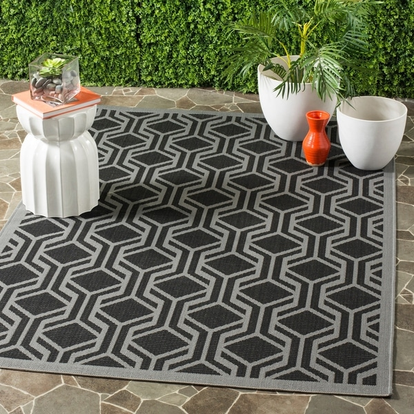 Safavieh Courtyard Modern Geometric Black/ Anthracite Indoor/ Outdoor Rug - 8' x 11'