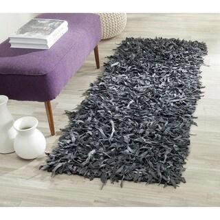 "Safavieh Handmade Metro Modern Grey Leather Decorative Shag Runner - 2'3"" x 6'"