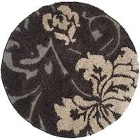 Safavieh Florida Shag Dark Brown/ Smoke Floral Round Rug (4' Round)