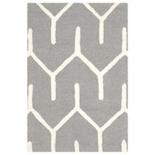 Safavieh Handmade Moroccan Cambridge Dark Grey/ Ivory Wool Rug (2' x 3')