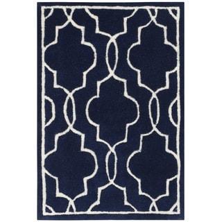 Safavieh Handmade Moroccan Chatham Dark Blue/ Ivory Wool Rug (2' x 3')