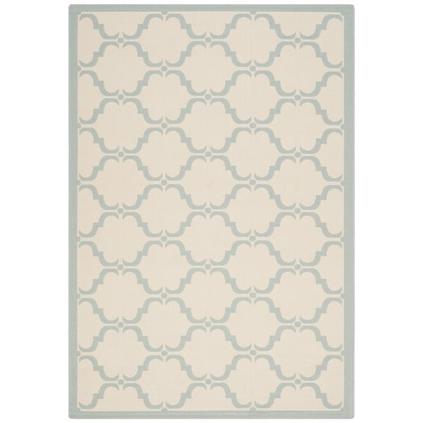 Safavieh Courtyard Moroccan Beige/ Aqua Indoor/ Outdoor Rug - 8' X 11'