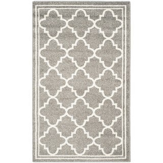 Safavieh Indoor/ Outdoor Amherst Dark Grey/ Beige Rug - 3' x 5'
