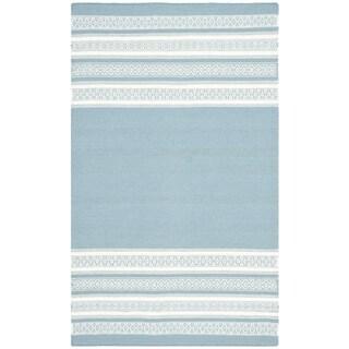Safavieh Hand-woven Dhurries Turquoise Wool Rug (3' x 5')