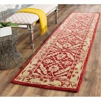 Safavieh Handmade Anatolia Oriental Red/ Ivory Hand-spun Wool Rug - 2'3 x 8'