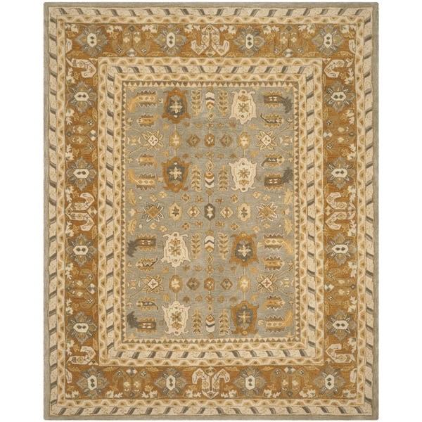 Safavieh Handmade Anatolia Oriental Light Grey/ Gold Hand-spun Wool Rug (6' x 9')