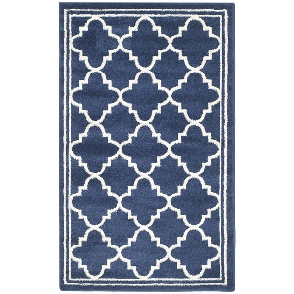 Safavieh Indoor Outdoor Amherst Navy Beige Rug 3 x 5