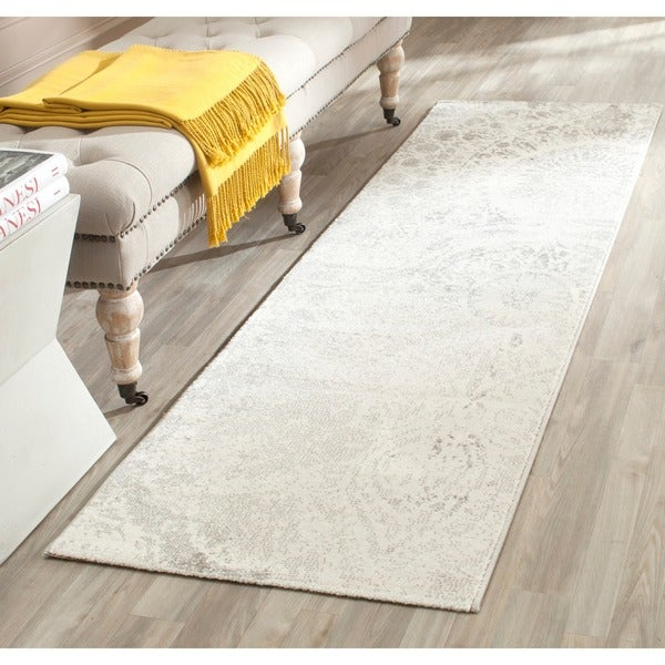 Safavieh Porcello Distressed Damask Light Grey/ Ivory Runner Rug - 2'4 x 6'7
