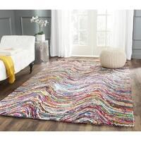 Safavieh Handmade Nantucket Modern Abstract Multicolored Cotton Rug - 4' Square