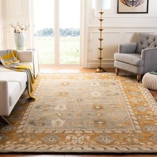 Safavieh Handmade Anatolia Oriental Light Grey/ Gold Hand-spun Wool Rug (2'3 x 8')
