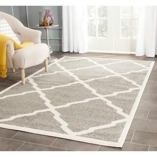 Safavieh Indoor/ Outdoor Amherst Dark Grey/ Beige Rug (9' x 12')