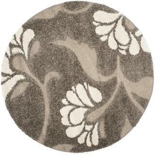 Safavieh Florida Shag Smoke/ Beige Floral Round Rug (5' Round)