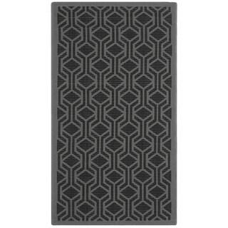 Safavieh Courtyard Modern Geometric Black/ Anthracite Indoor/ Outdoor Rug (2'7 x 5')